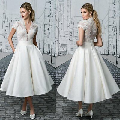 Plus SIZE Tea Length Wedding Dresses Short Sleeve V Neck Lace Satin Bridal  Gown | eBay