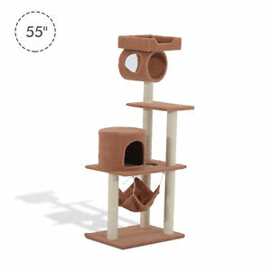 "55"" Cat Scratching Tree Kitty Play Center House Toy Condo Posts Pet Furniture"