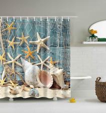 Fabric Shower Curtain Bathroom Waterproof Beach Ocean Decor Seashell Bath Hooks