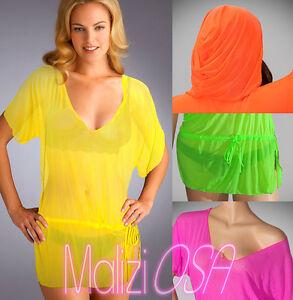 finest selection 7c74c e8f59 Details about Copricostume donna miniabito caftano cappuccio pareo moda  mare estate beachwear