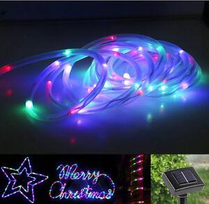 23ft 50 LED Solar Power Rope Tube Lights Strip Waterproof Outdoor Garden Party eBay