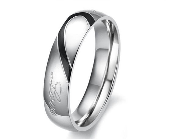 Lovers Couple Heart Matching Stainless Steel Promise Wedding Ring Womens Mens J