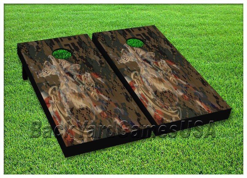 Cornhole Boards BEANBAG TOSS GAME  w Bags Patriotic Digital Camo USA Flag Set 155  just buy it