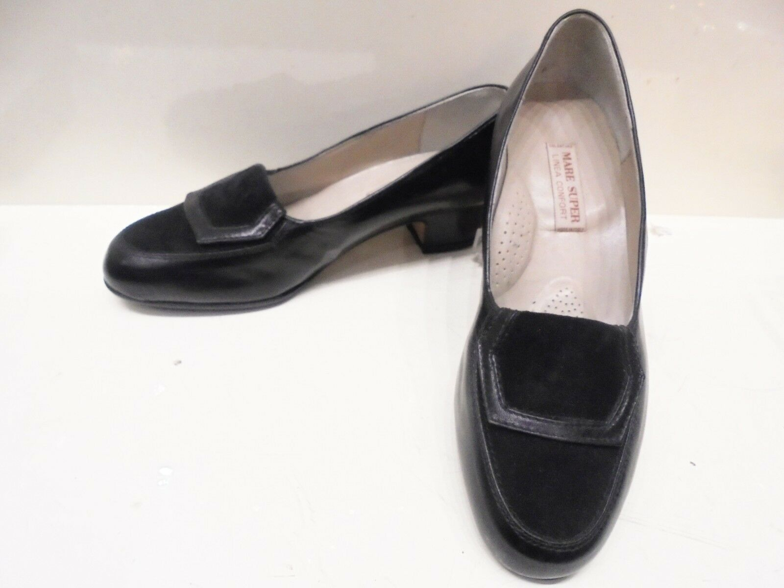 shoes MOCASSINI women IN PELLE E CAMOSCIO black MADE ITALY ARTIGIANALI N.37
