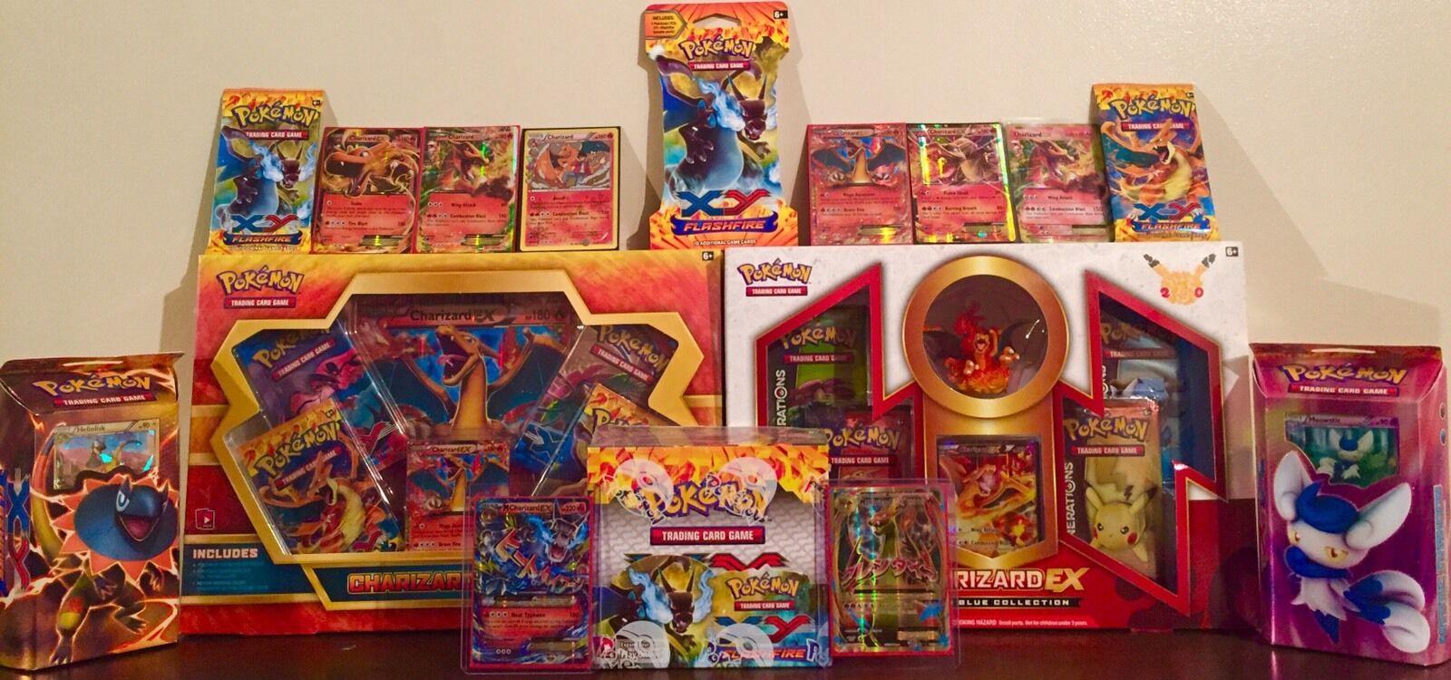 POKEMON CHARIZARD MEGA MEGA MEGA LOT (flashfire box, ex boxes, full art & MORE)+ FREE GIFT f2e011