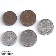 Set großer Adler 1, 2, 5, 10 Pfennig und 1/2 Mark 1890 - 1916 - Kaiserreich