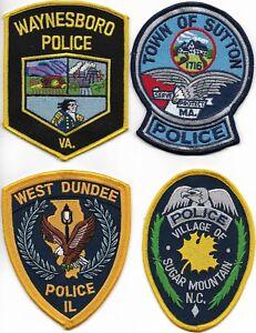 SET-Nr-06-4-Stueck-USA-Police-Patch-IL-VA-NC-MA-Polizei-Abzeichen-je-ca-12-cm
