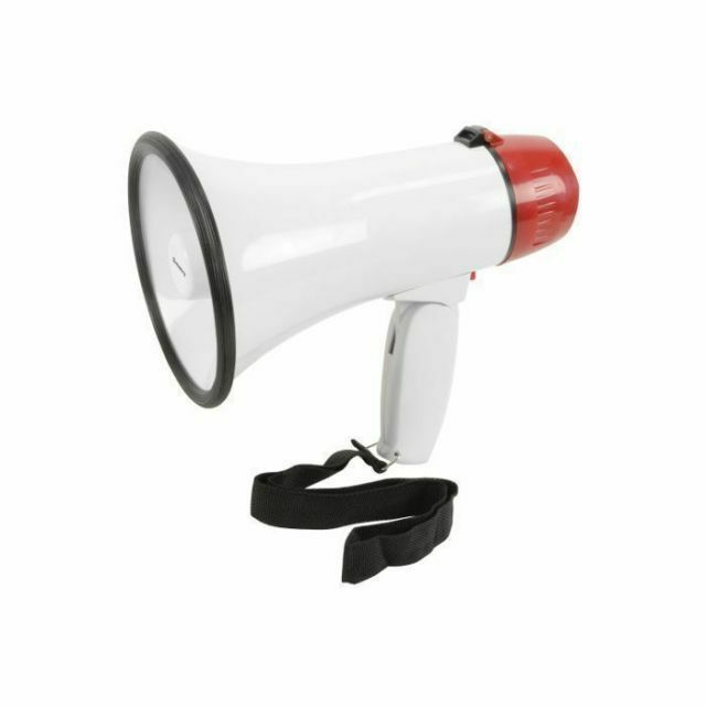 10W Megaphone With Folding Handle Loop Message Playback Recording & Siren