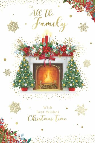 To All The Family Best Wishes Christmas Greetings Card Merry Xmas Gold Foil
