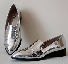 River Island Chrome Mirror Silver Loafer Shoes Size EUR 37 UK 4