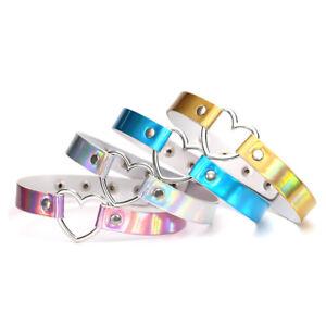 Holographic-Heart-Choker-Collar-PU-Leather-Metal-Laser-Kawaii-Lolita-Club-COOL