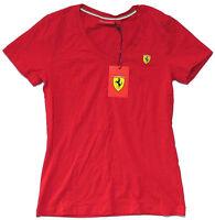 Ferrari Scuderia Sf shield Logo Red V-neck Babydoll Girls Shirt Large