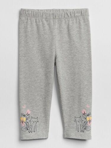 NWT BABY GAP GIRLS PANTS leggings grey gray kitty cat capri   u pick size