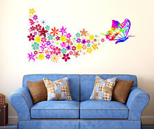 5700095   Wall Stickers Butterfly with Colorful Flowers Blowing