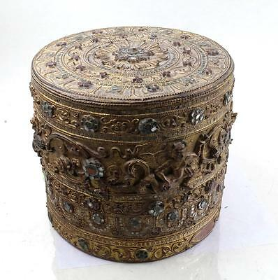 BEAUTIFUL ANTIQUE THAI LACQUER AND GILT BOX WITH JEWELED ACCENTS & GLASS INSETS