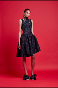 Nicola-Finetti-Black-Boat-High-Neck-Dress-Sleeveless-Silver-Floral-Ruffle-Formal
