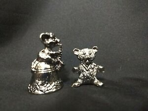 VTG Pewter Figurines 1 Teddy Bear 1 Mouse Playing Saxophone 80's Taiwan R.O.C