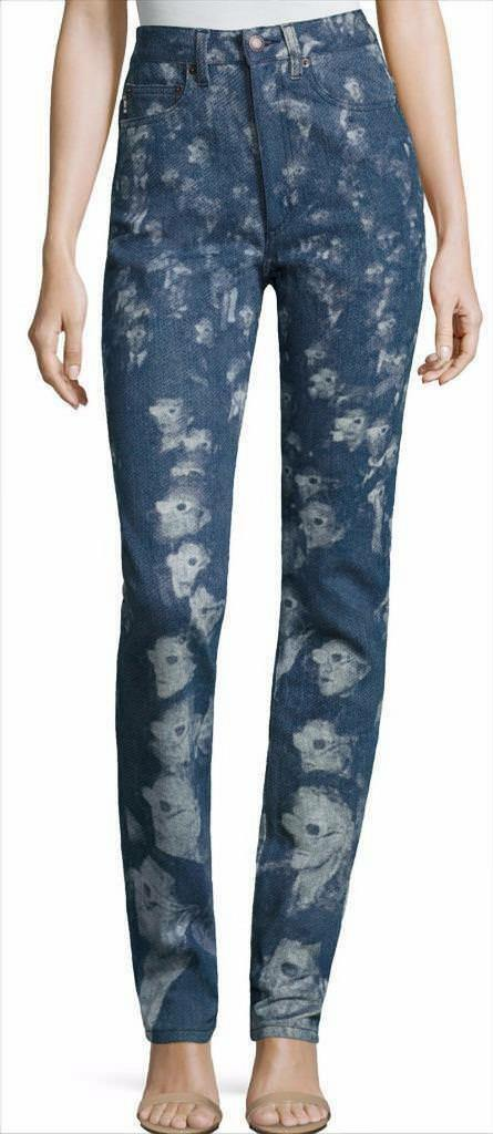 NWT Marc Jacobs Runway High Rise Stovepipe 3D People Print Pant Jeans 26