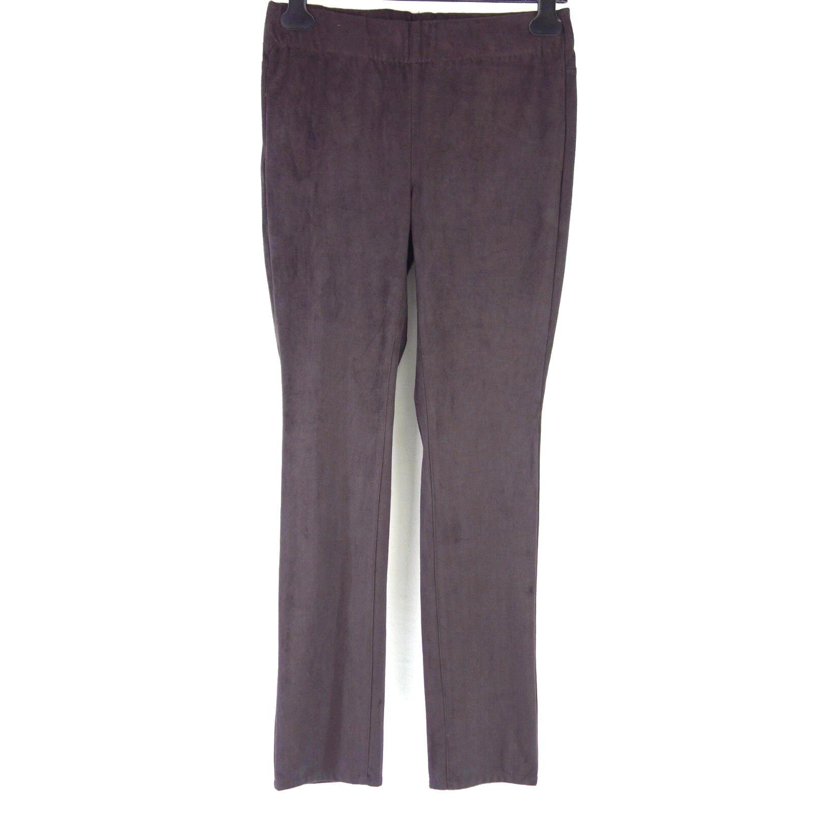 NYDJ Trousers Women's Leggings Us 6 de 36 Brown Suede Look Elastic Waistband