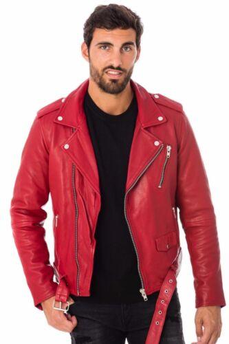 da Fit in Biker New uomo pelle Giacca Red Lambskin Genuine Slim Eqw7060