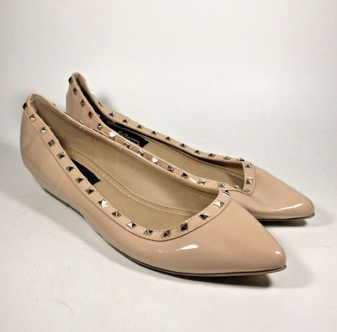 M4518L PreOwned Women's David Aaron Nude Pointy Toe Flats US 10 M