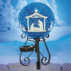Solar-Lighted-Starry-Night-Nativity-Scene-Gazing-Ball-Outdoor-Christmas-Decor