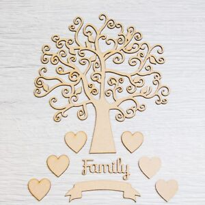 Autumn-Family-Tree-Pack-with-Hearts-Banner-Wooden-Ribba-Frame-Guestbook-Art-MDF