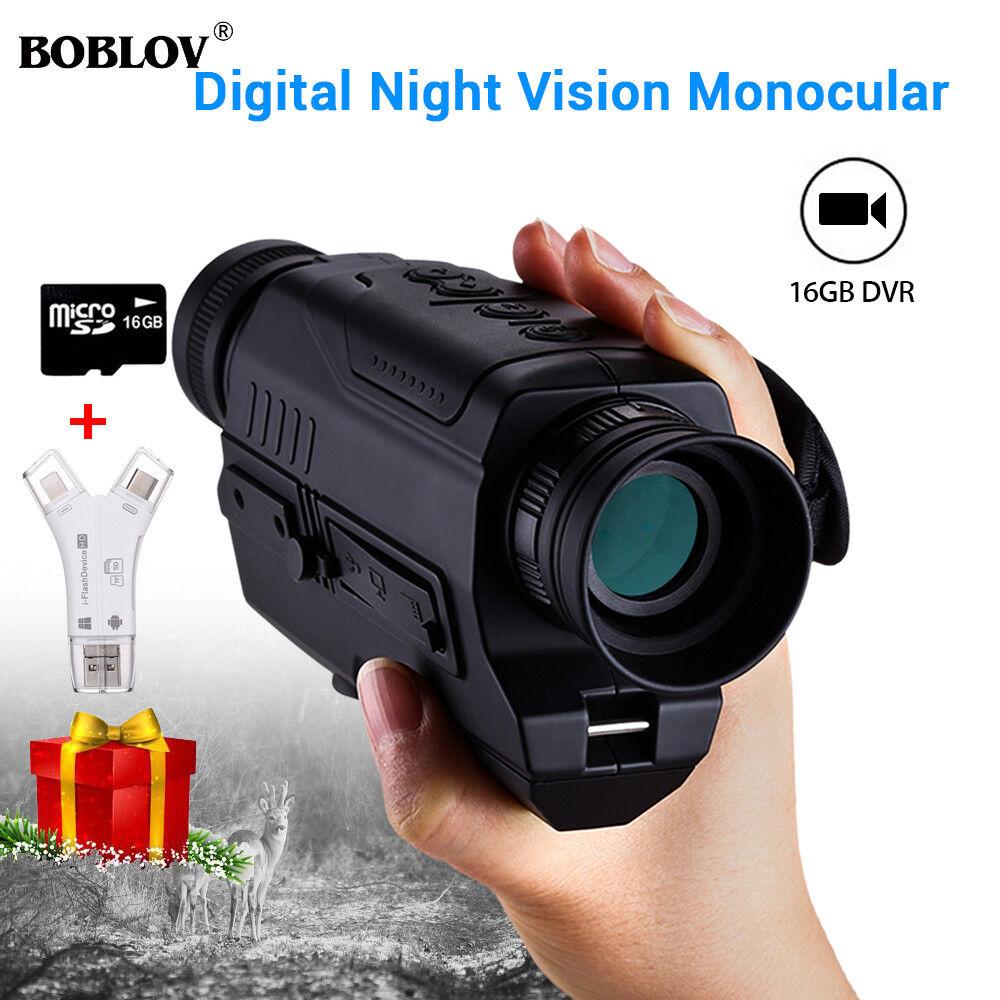 Óptica Visión Nocturna IR Monocular 5x32 + 16GB  + 4 en 1 lector de tarjetas Cámara  estilo clásico