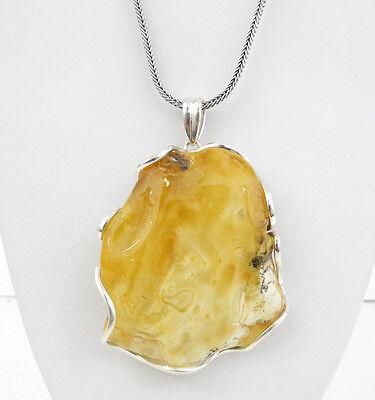 Sterling Silver Huge White Baltic Amber Necklace 66.3 GRAM ALLUREGEM 31858
