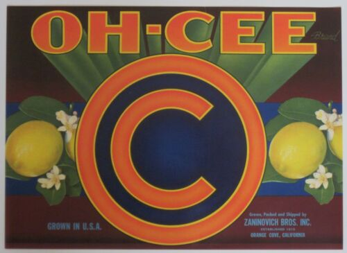 Orange Cove CA OH-CEE Lemon Label Zannovich Bros