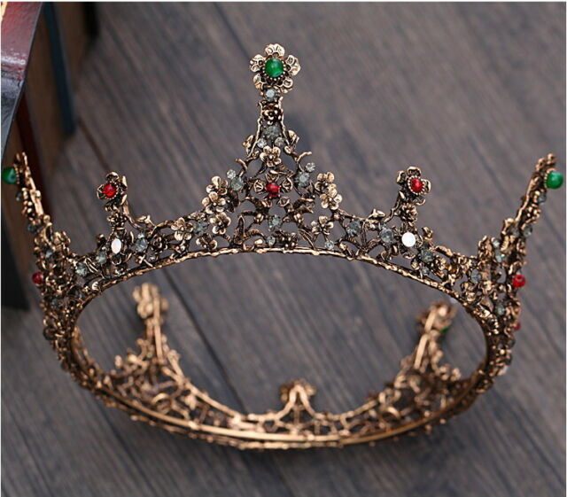 Luxury Antique Copper Crystal Queen Wedding Bridal Party Pageant Prom Crown