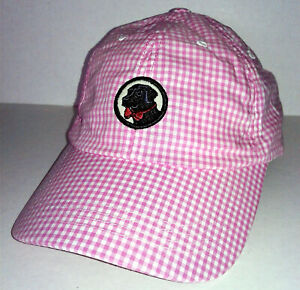 97df70561 Details about NEW SOUTHERN PROPER PINK WHITE PLAID GINGHAM HAT BASEBALL CAP  BLACK LAB DOG LOGO
