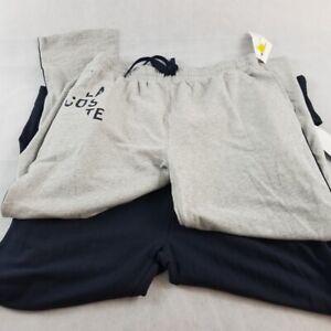NWT-Lacoste-Men-039-s-Sleepwear-Pants-s-XL-Navy-Gray-Side-Stripe-Croc-Logo