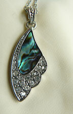 "Angel Butterfly Wing Necklace Paua Abalone Shell 17 1/2-19"" adjustable chain"