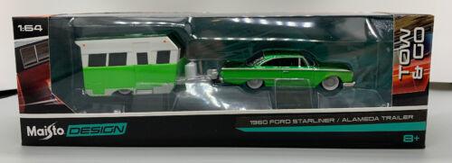 1960 Ford STARLINER /& ALAMEDA Camper Trailer Maisto Desgin Diecast 1:64 Scale