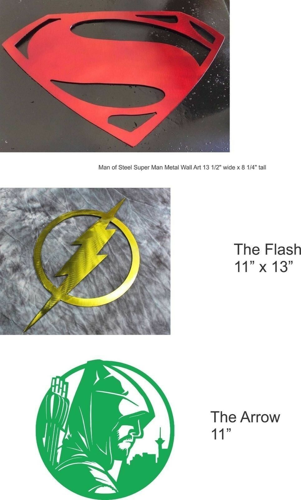Trio Of Fun Pfeil, Superman & Flash Metall Wandkunst | Nicht so teuer