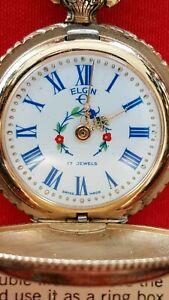 Antique Elgin Olde Romantique 17J Hunter Pocket Pendant Watch