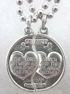 """Mizpah Medal Coin Pendant Necklace Set For Two 24"""" Stainless Steel Ball Chains"""