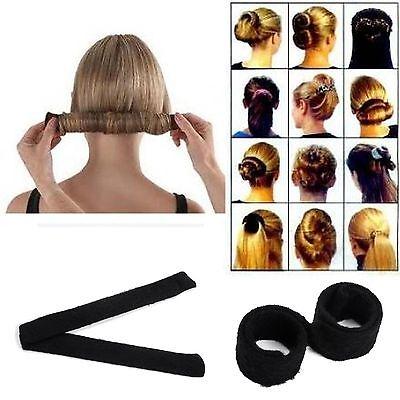 Laidies Hair Bun Updo Fold Wrap & Snap Magic Styling Tool Black hot