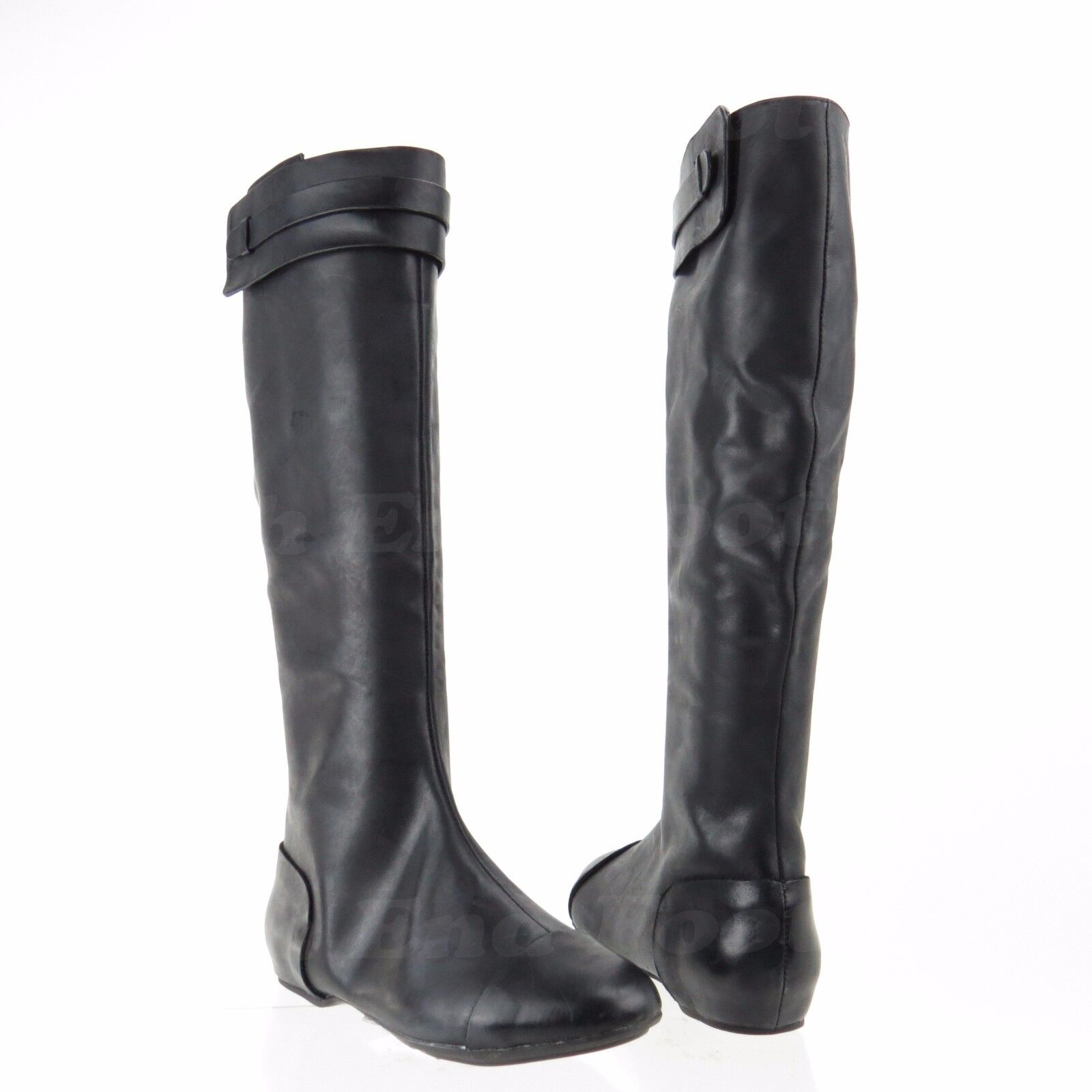 Max Studio Draping Women's shoes Black Leather Tall Boots Sz 6.5 M NEW RTL  378