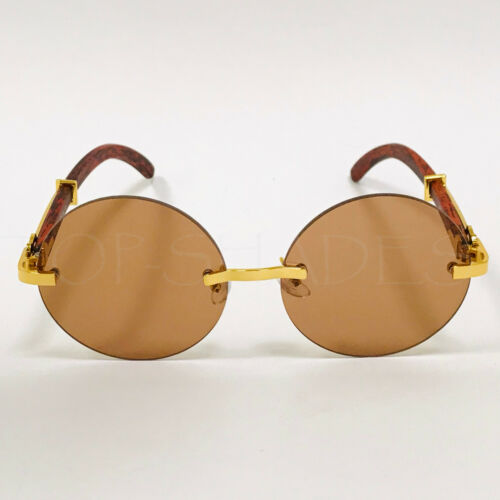Round Fashion Retro Vintage New Designer Shades Wood Gold Men Women Sunglasses