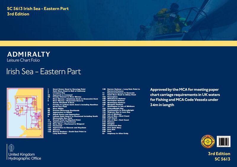 ADMIRALTY LEISURE CHART FOLIO - SC5613 IRISH SEA - EASTERN PART
