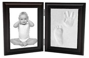 Proud Baby Clay Hand & Footprint Keepsake & Photo Bi-Fold Frame Kit - Expresso