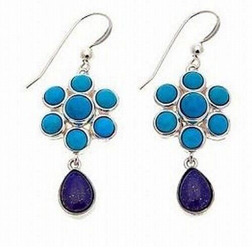 JAY King sept pics turquoise et lapis Sterling Silver Boucles d/'oreilles pendantes Neuf avec étiquettes