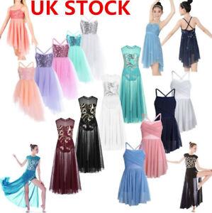 UK Girls Lyrical Dress Ballet Dance Leotard Skirt Dancewear Gymnastics Costume