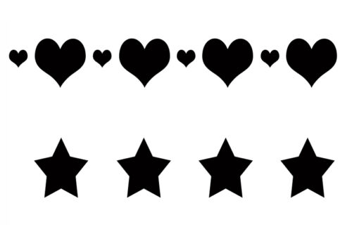 Shabby Chic Stencil love Hearts Stars Repeatable 2 on 1 sheet A4 297x210mm wall
