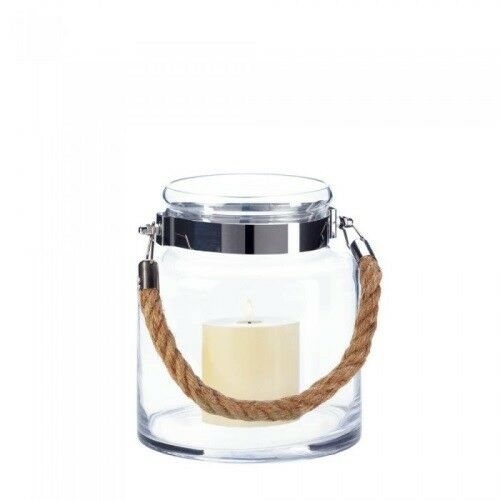 Buy Small Rope Glass Lantern Hurricane Hanging Candle
