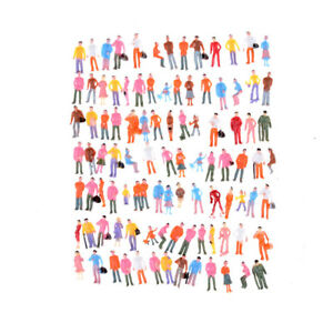 100X Mini Painted Model Figures 1:150 Standing Sitting Model People Toys Decoras