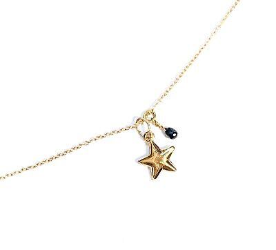 """heart charm natural authentic black diamond link necklace solid 14k 18k gold 16/"""""""
