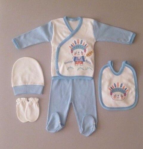 Baby Neugeborenen 5-tlg Set Erstling Gr 0-4 Monate Indianer Jungen Häuptling